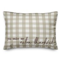 Extra Thankful Plaid Oblong Throw Pillow