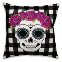 Halloween Sugar Skull Square Throw Pillow in Black/White