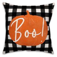 Designs Direct Halloween Boo Buffalo Check Square Pillow
