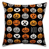 Designs Direct Halloween Boo Pumpkin Pattern Square Pillow