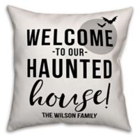 Designs Direct Halloween Welcome To Our Haunted House Square Pillow