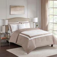 Carroll 4-Piece Reversible Full/Queen Comforter Set in Tan