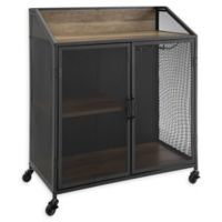 """Forest Gate 33"""" Willow Industrial Wood Bar Cabinet in Rustic Oak"""