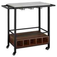 """Forest Gate 34"""" Modern Wood Faux Marble Bar Cart in White Top"""