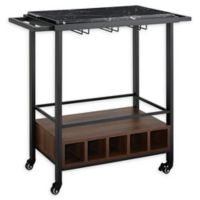 """Forest Gate 34"""" Modern Wood Faux Marble Bar Cart in Black Top"""