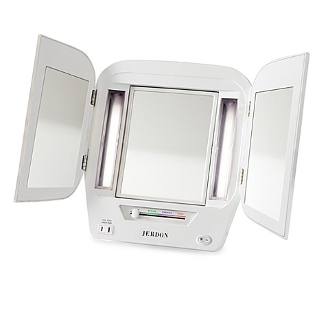 Jerdon Tri-Fold Lighted Magnification Mirror - Bed Bath ...
