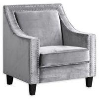 Chic Home Velvet Upholstered Kam Chair in Grey