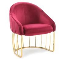 Chic Home Velvet Upholstered Hammerstein Chair in Red