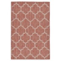 Unique Loom Outdoor Trellis 4' X 6' Powerloomed Area Rug in Rust Red