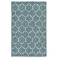 Unique Loom Outdoor Trellis 5' X 8' Powerloomed Area Rug in Teal