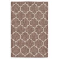 Unique Loom Outdoor Trellis 4' X 6' Powerloomed Area Rug in Brown