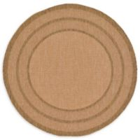 Unique Loom Multi Border Outdoor 6' Round Powerloomed Area Rug in Light Brown
