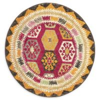 Unique Loom Native Sedona 3' Round Powerloomed Area Rug in Red