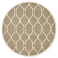 Unique Loom Seattle Trellis 6' Round Powerloomed Area Rug in Beige