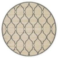 Unique Loom Seattle Trellis 6' Round Powerloomed Area Rug in Cream