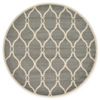 Unique Loom Seattle Trellis 6' Round Powerloomed Area Rug in Gray