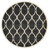 Unique Loom Seattle Trellis 6' Round Powerloomed Area Rug in Black