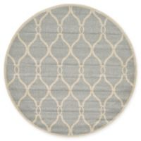 Unique Loom Seattle Trellis 6' Round Powerloomed Area Rug in Light Gray