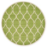Unique Loom Seattle Trellis 6' Round Powerloomed Area Rug in Green