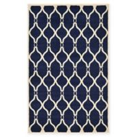 "Unique Loom Seattle Trellis 3'3"" X 5'3"" Powerloomed Area Rug in Navy"