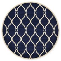 Unique Loom Seattle Trellis 6' Round Powerloomed Area Rug in Navy