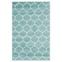 Unique Loom Rounded Trellis Frieze 4' X 6' Powerloomed Area Rug in Light Blue
