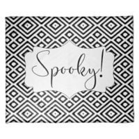 "Halloween ""Spooky"" Fleece Throw Blanket in Black/White"