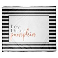 Designs Direct Halloween Hey There Pumpkin Stripes Fleece Throw Blanket
