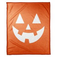 Designs Direct Halloween Jack-O Face Fleece Throw Blanket