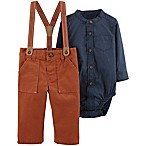 carter's® Size 3M 2-Piece Chambray Bodysuit and Suspender Pant Set in Navy