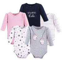 Little Treasures Size 18-24M 5-Pack Mittens Long Sleeve Bodysuits in Grey