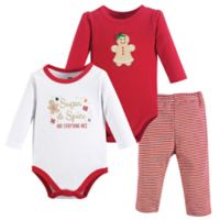Hudson Baby® Size 18-24M 3-Piece Gingerbread Bodysuit and Pant Set in Red
