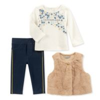 Calvin Klein Size 3-6M 3-Piece Floral Shirt, Vest, and Pant Set in Tan/Blue