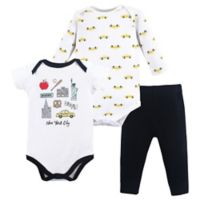 Hudson Baby® Size 9-12M NYC 3-Piece Bodysuit and Pant Set in Black
