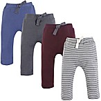 Touched by Nature Size 0-3M 4-Pack Organic Cotton Pants in Blue/Grey/Red