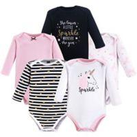 Hudson Baby® Size 12-18M 5-Pack Sparkle Unicorn Long Sleeve Bodysuits
