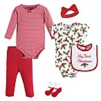 Hudson Baby® Size 0-3M 6-Piece Holly Layette Set in Red