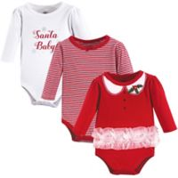 """Little Treasures Size 0-3M 3-Pack """"Santa Baby"""" Bodysuits in Red"""