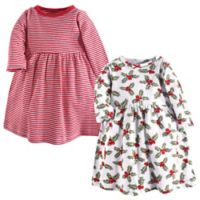 Hudson Baby® Size 5T 2-Pack Holly and Stripes Long Sleeve Dresses in Red