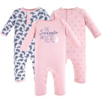 Yoga Sprout Size 12-18M 3-Pack Snuggle Bunny Bodysuits in Pink