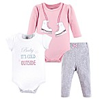 Little Treasures Size 3-6M 3-Piece Ice Skates Bodysuits and Pant Set in Pink