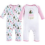 Hudson Baby® Size 3-6M 2-Pack Sparkle Trees Bodysuits in Red