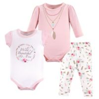 Little Treasures Size 6-9M 3-Piece Boho Bodysuit and Pant Set in Pink