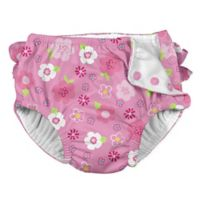 i play.® Size 24M Floral Ruffle Snap Swim Diaper in Hot Pink