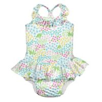 i play.® Size 6M 1-Piece Flower Patch Ruffle Swimsuit with Built-In Swim Diaper in White