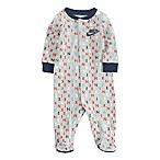 Nike® Newborn Logo Print Footed Coverall in Grey