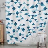 KESS InHouse® Triangles Blue Shower Curtain