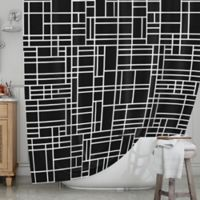 KESS InHouse® Map Outline Shower Curtain in Black