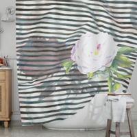 KESS InHouse® Peony Shower Curtain in White/Black