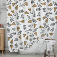 KESS InHouse® Burgers and Pizza Shower Curtain